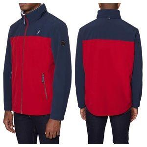 Nautica Navy Red Zip Front Hidden Hood Jacket 4X
